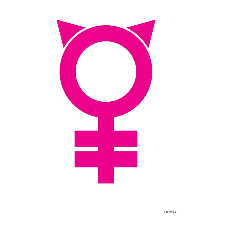 Feminism = Equality, #pussyhat Edition (pink) Home Fine Art Print by J.BJÖRK: minimalist printed artworks