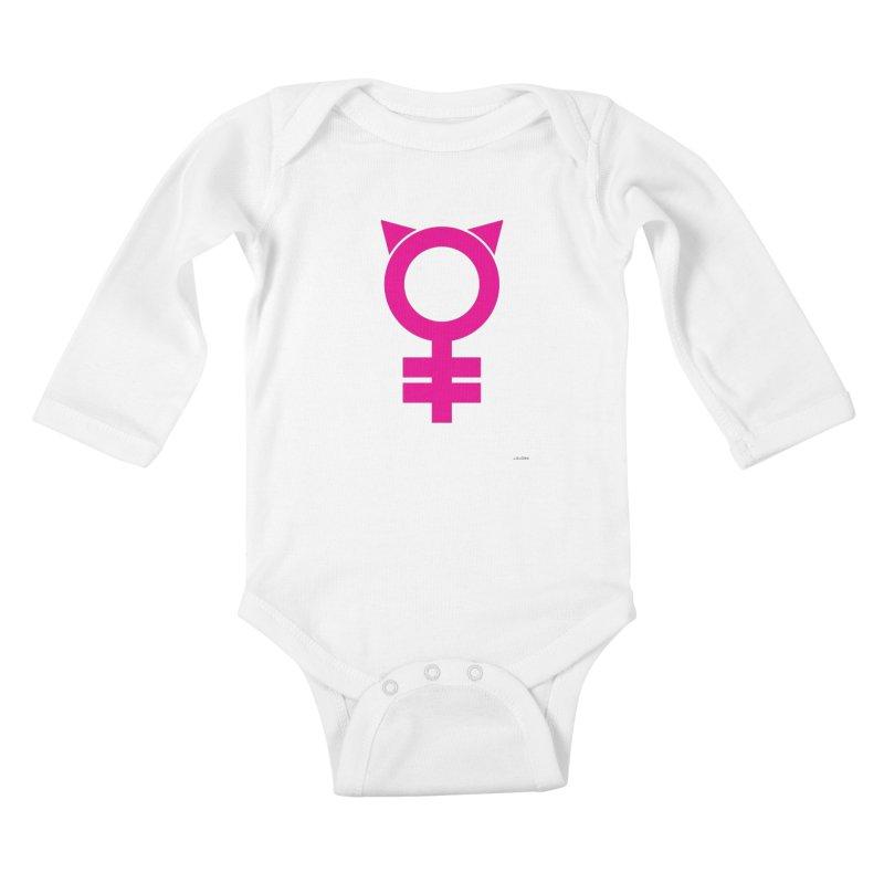 Feminism = Equality, #pussyhat Edition (pink) Kids Baby Longsleeve Bodysuit by J.BJÖRK: minimalist printed artworks