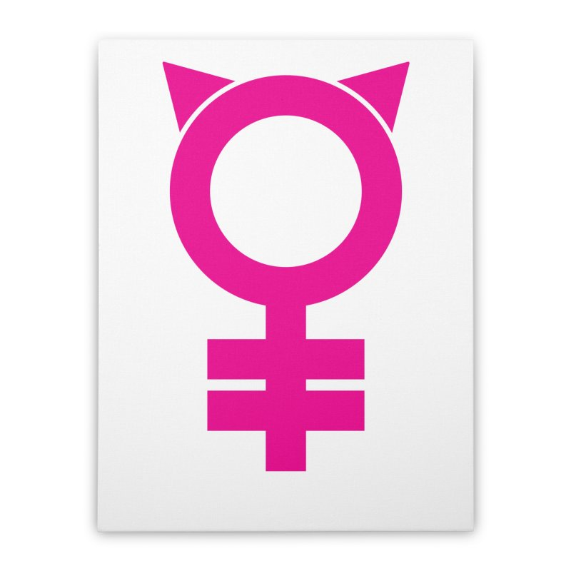 Feminism = Equality, #pussyhat Edition (pink) Home Stretched Canvas by J.BJÖRK: minimalist printed artworks