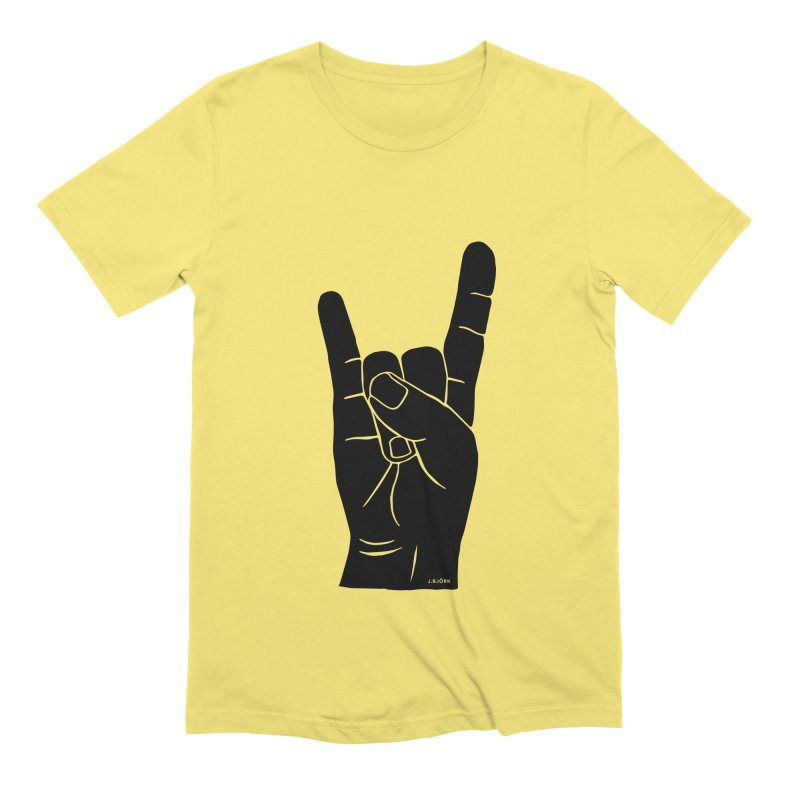 Hand Signals: Sign of the Horns Men's Extra Soft T-Shirt by J.BJÖRK: minimalist printed artworks