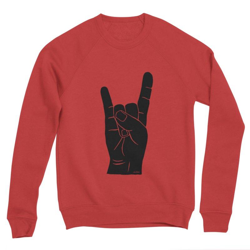 Hand Signals: Sign of the Horns Women's Sponge Fleece Sweatshirt by J.BJÖRK: minimalist printed artworks