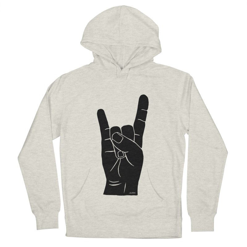 Hand Signals: Sign of the Horns Women's French Terry Pullover Hoody by J.BJÖRK: minimalist printed artworks