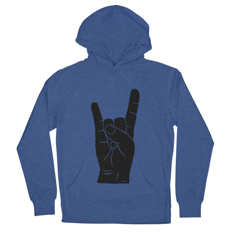 Hand Signals: Sign of the Horns Men's French Terry Pullover Hoody by J.BJÖRK: minimalist printed artworks