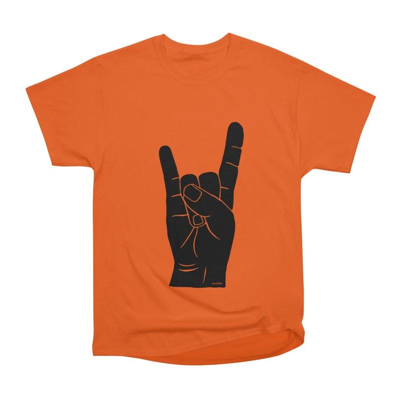 Hand Signals: Sign of the Horns Men's Heavyweight T-Shirt by J.BJÖRK: minimalist printed artworks