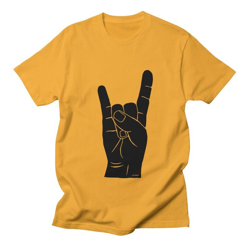 Hand Signals: Sign of the Horns Men's Regular T-Shirt by J.BJÖRK: minimalist printed artworks