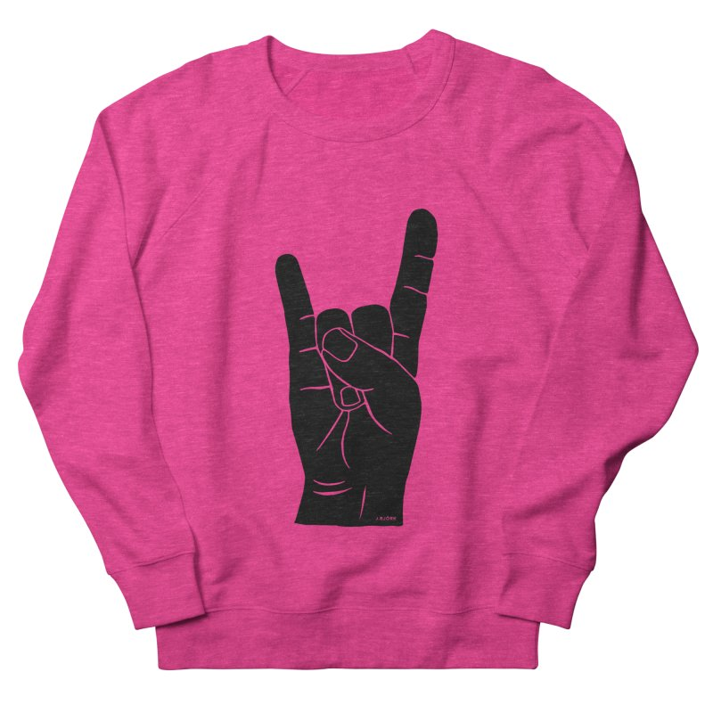 Hand Signals: Sign of the Horns Women's French Terry Sweatshirt by J.BJÖRK: minimalist printed artworks