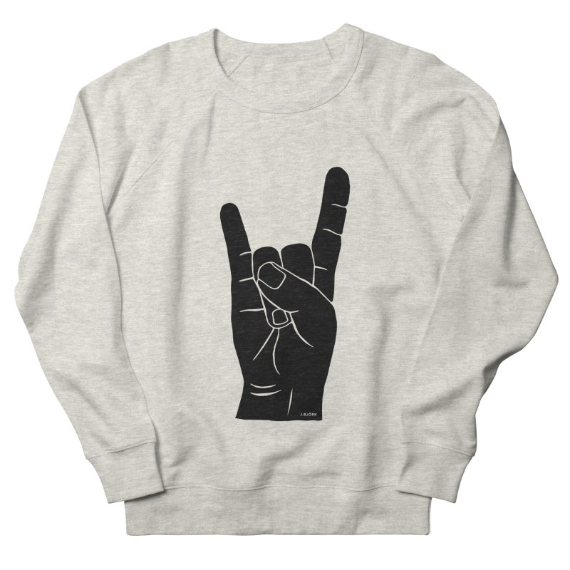 Hand Signals: Sign of the Horns Men's French Terry Sweatshirt by J.BJÖRK: minimalist printed artworks