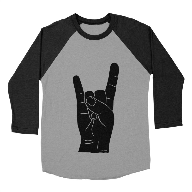 Hand Signals: Sign of the Horns Women's Baseball Triblend Longsleeve T-Shirt by J.BJÖRK: minimalist printed artworks