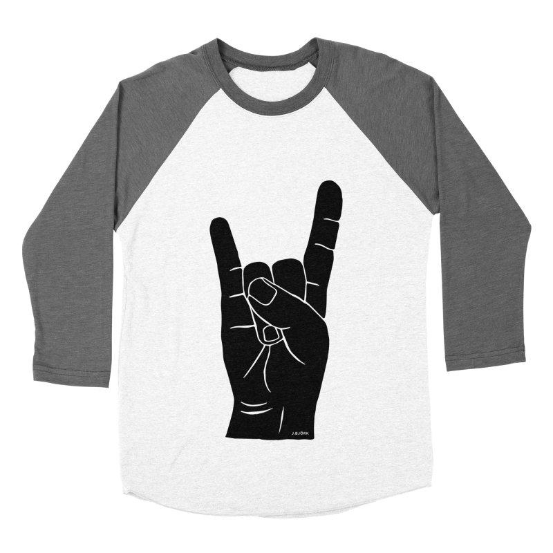 Hand Signals: Sign of the Horns Men's Baseball Triblend Longsleeve T-Shirt by J.BJÖRK: minimalist printed artworks