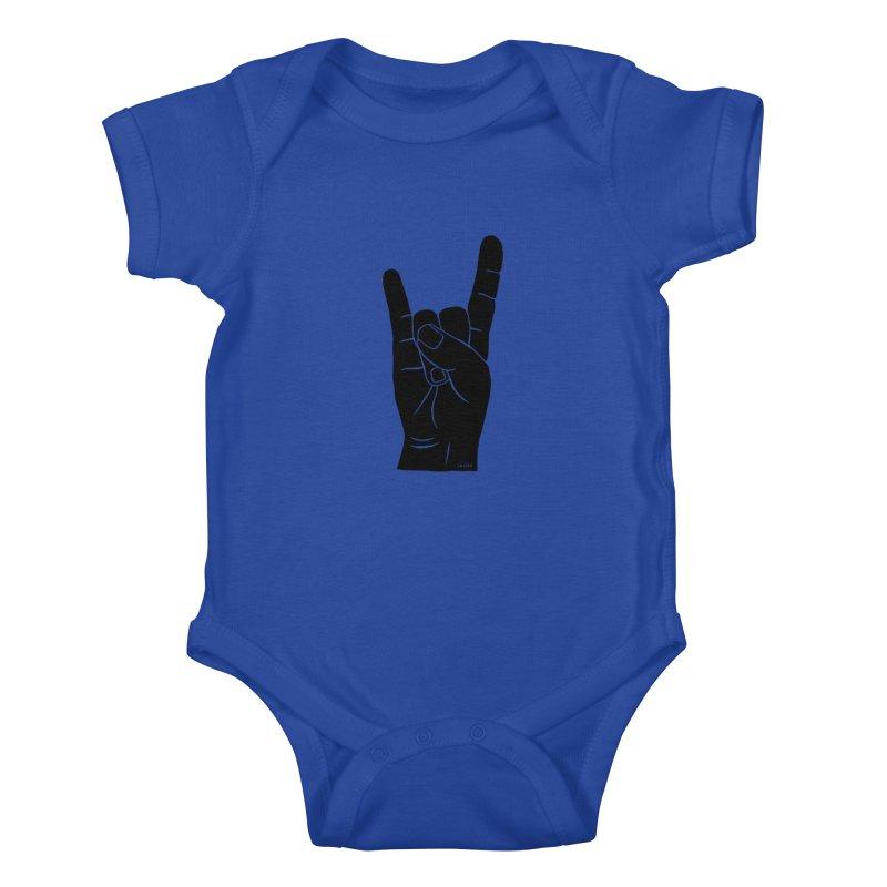 Hand Signals: Sign of the Horns Kids Baby Bodysuit by J.BJÖRK: minimalist printed artworks