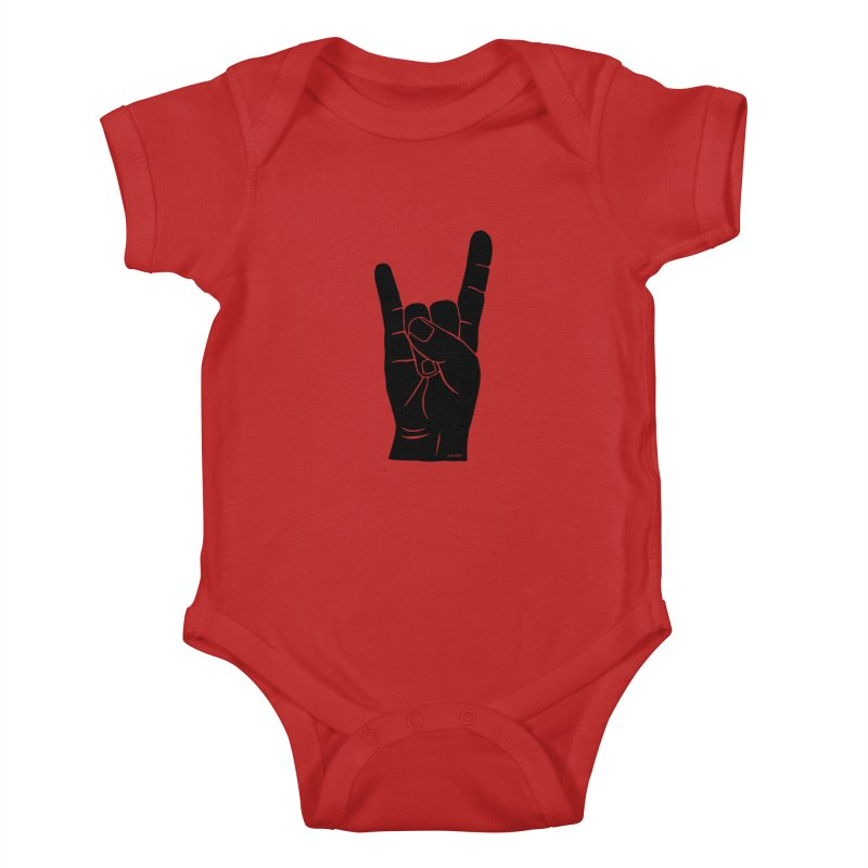 Hand Signals: Sign of the Horns Kids Baby Bodysuit by J.BJÖRK: minimalist printed artworks