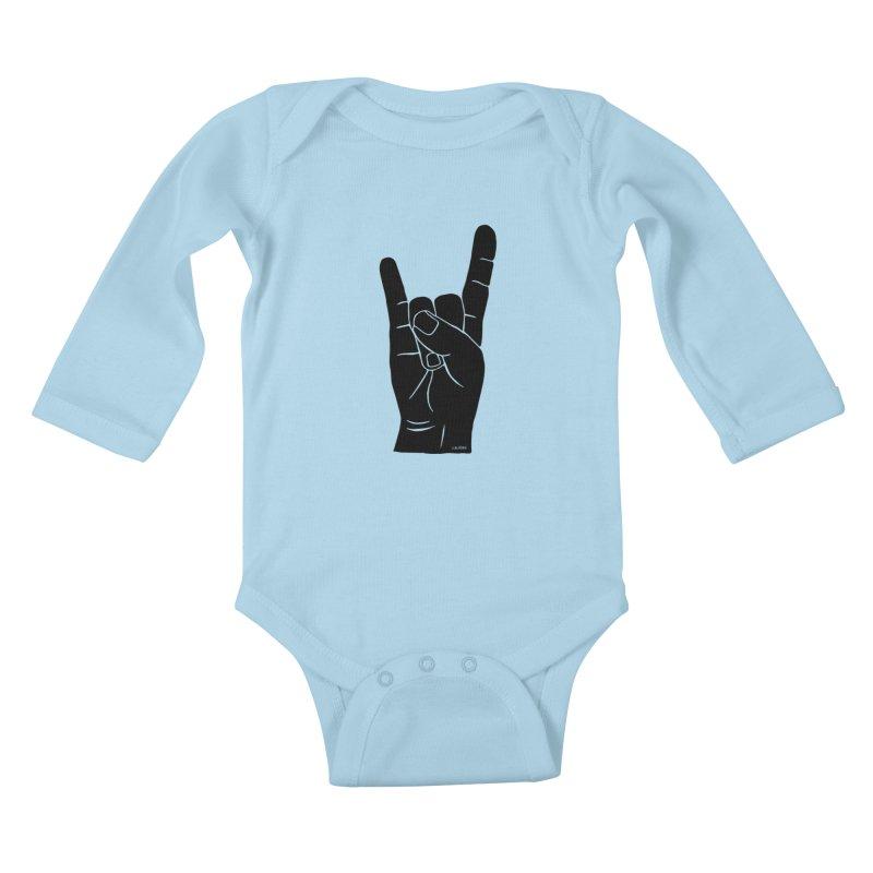 Hand Signals: Sign of the Horns Kids Baby Longsleeve Bodysuit by J.BJÖRK: minimalist printed artworks