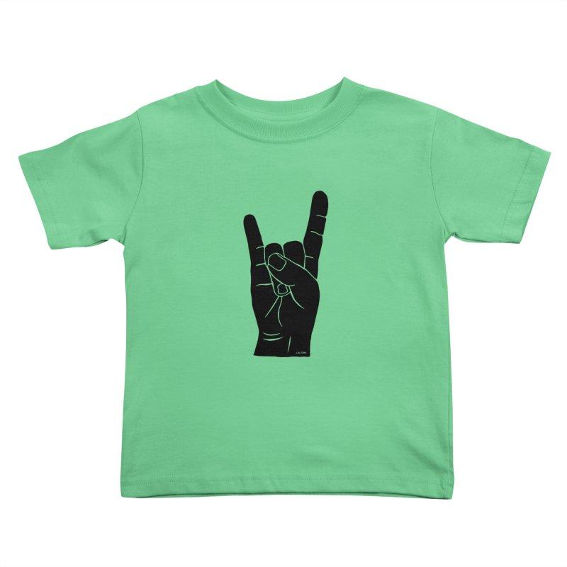 Hand Signals: Sign of the Horns Kids Toddler T-Shirt by J.BJÖRK: minimalist printed artworks