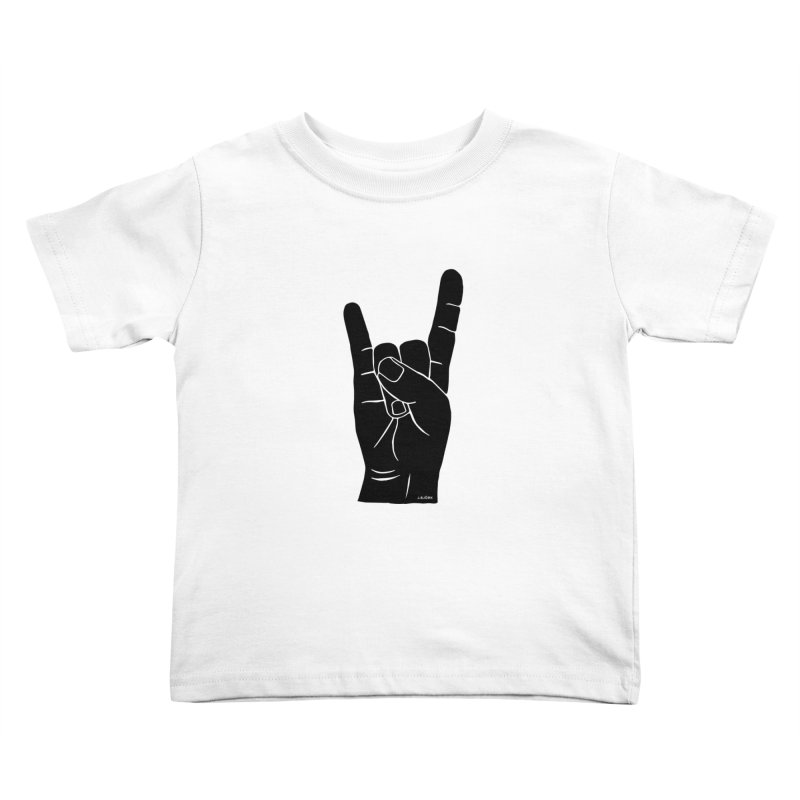Hand Signals: Sign of the Horns Kids Toddler T-Shirt by J.BJÖRK: minimalist printed artworks