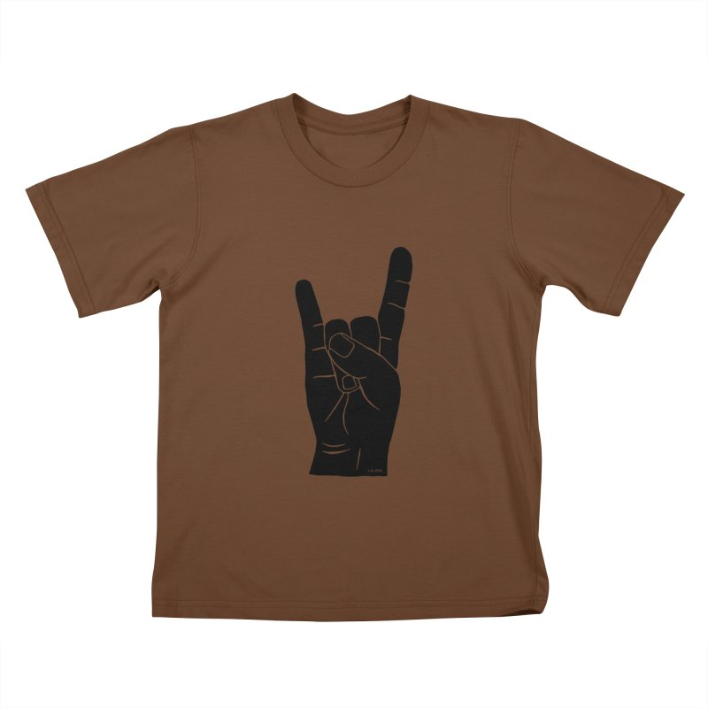 Hand Signals: Sign of the Horns Kids T-Shirt by J.BJÖRK: minimalist printed artworks