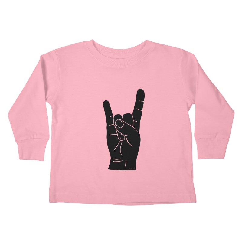 Hand Signals: Sign of the Horns Kids Toddler Longsleeve T-Shirt by J.BJÖRK: minimalist printed artworks