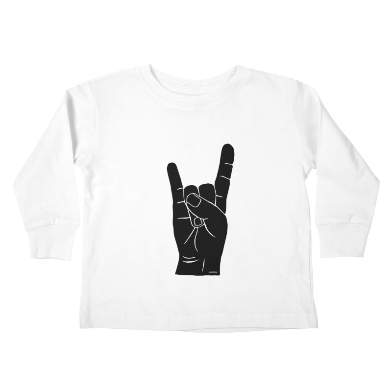 Hand Signals: Sign of the Horns Kids Toddler Longsleeve T-Shirt by J.BJÖRK: minimalist printed artworks