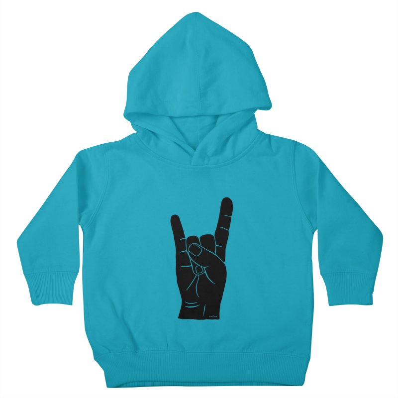 Hand Signals: Sign of the Horns Kids Toddler Pullover Hoody by J.BJÖRK: minimalist printed artworks