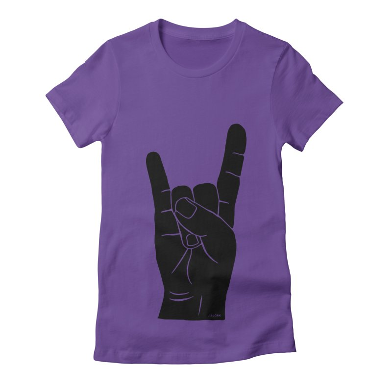 Hand Signals: Sign of the Horns Women's Fitted T-Shirt by J.BJÖRK: minimalist printed artworks