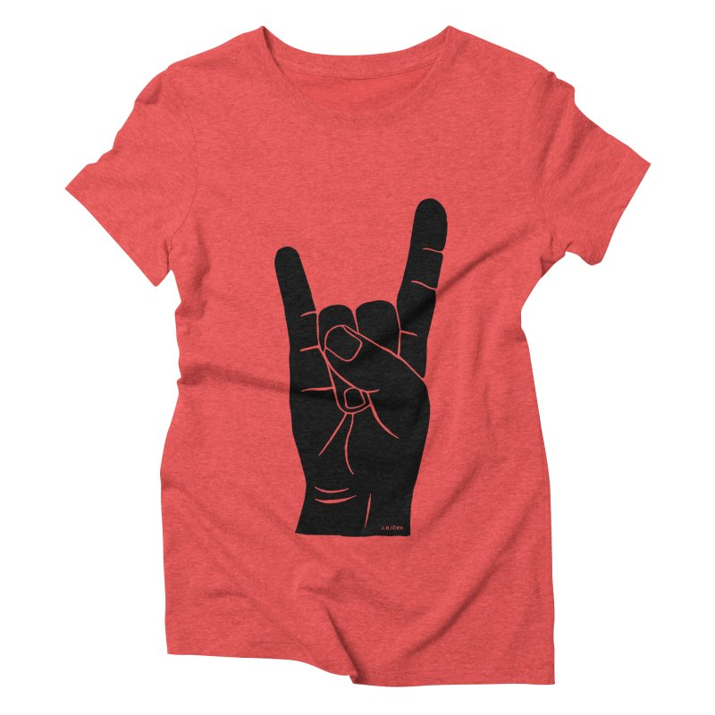 Hand Signals: Sign of the Horns Women's Triblend T-Shirt by J.BJÖRK: minimalist printed artworks