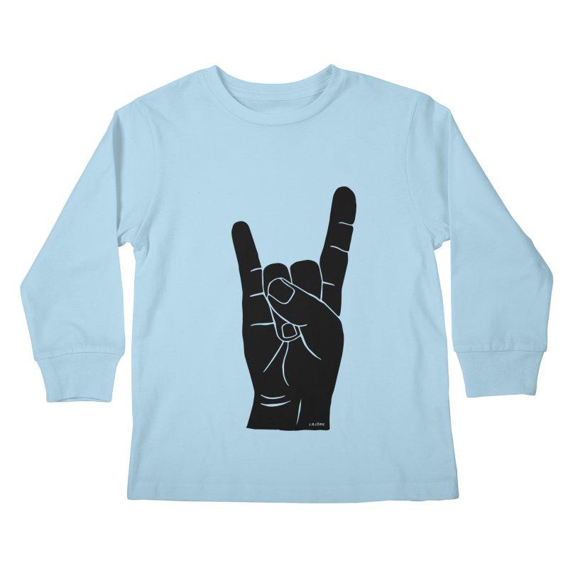 Hand Signals: Sign of the Horns Kids Longsleeve T-Shirt by J.BJÖRK: minimalist printed artworks