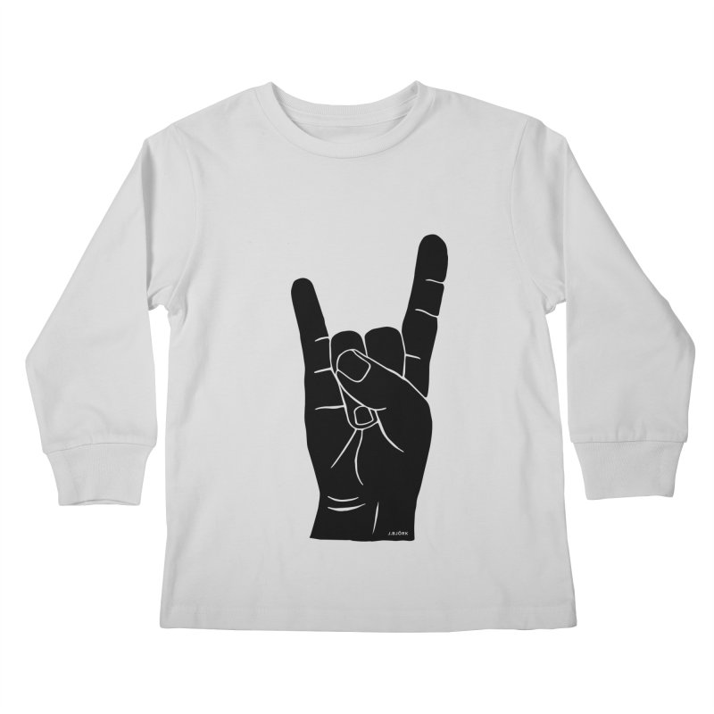 Hand Signals: Sign of the Horns Kids Longsleeve T-Shirt by J.BJÖRK: minimalist printed artworks