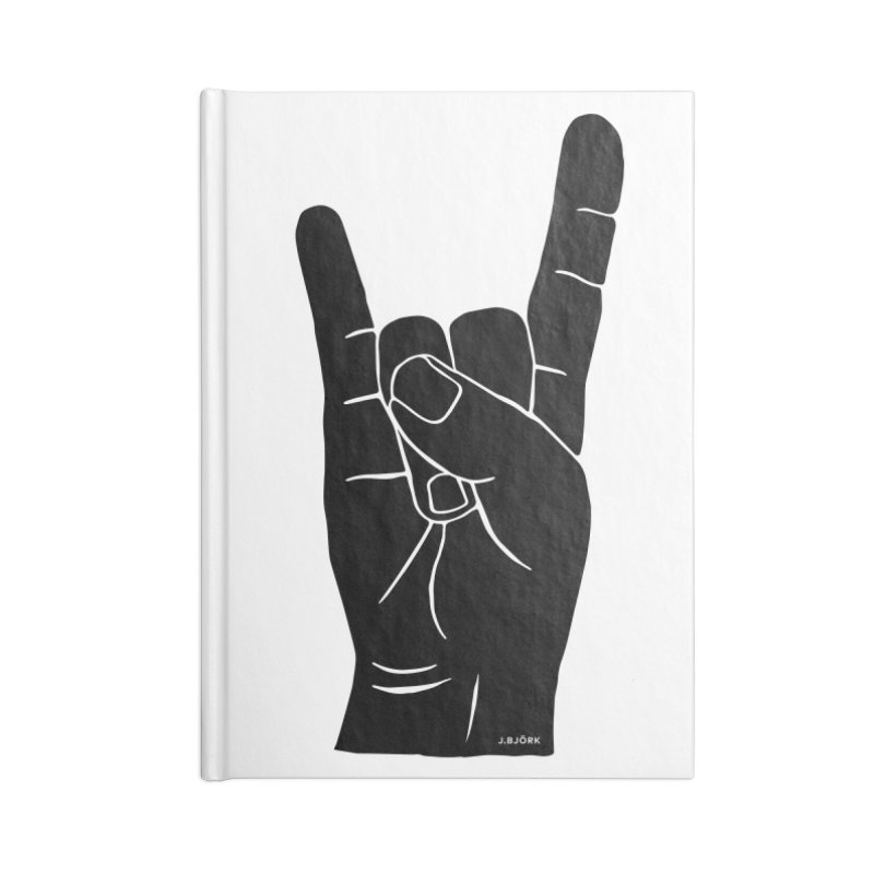 Hand Signals: Sign of the Horns Accessories Blank Journal Notebook by J.BJÖRK: minimalist printed artworks