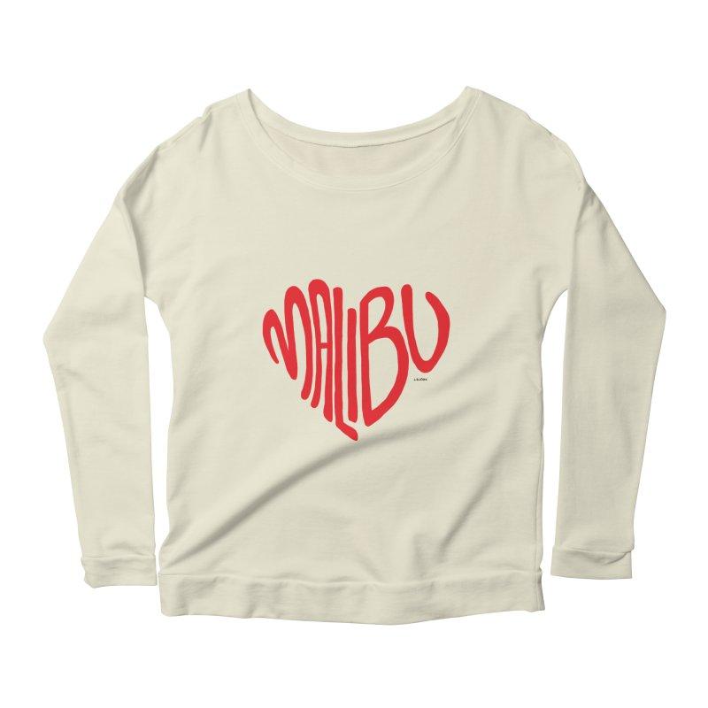 Malibu Love Women's Scoop Neck Longsleeve T-Shirt by J.BJÖRK: minimalist printed artworks