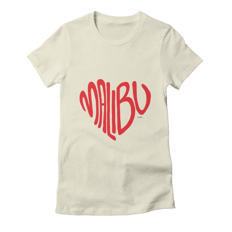 Malibu Love Women's Fitted T-Shirt by J.BJÖRK: minimalist printed artworks