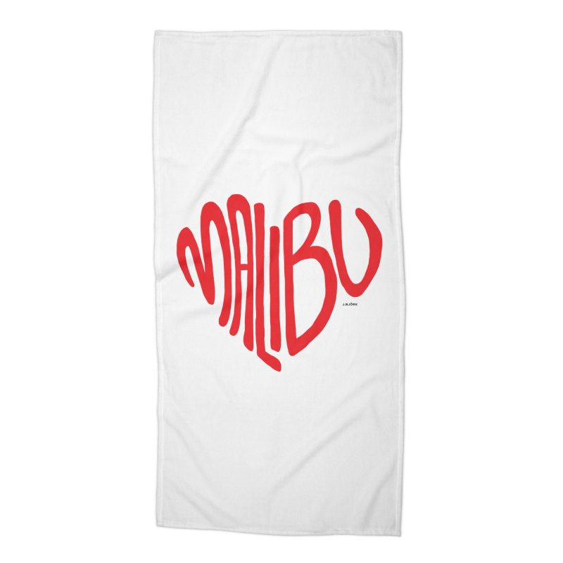 Malibu Love Accessories Beach Towel by J.BJÖRK: minimalist printed artworks