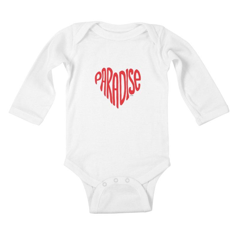 Paradise Love Kids Baby Longsleeve Bodysuit by J.BJÖRK: minimalist printed artworks