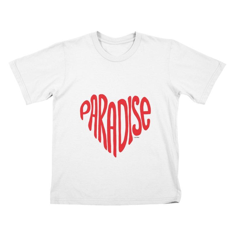 Paradise Love Kids T-Shirt by J.BJÖRK: minimalist printed artworks