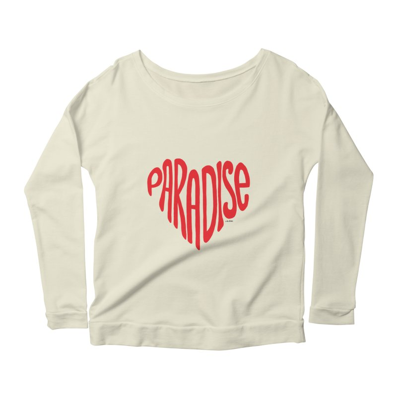 Paradise Love Women's Scoop Neck Longsleeve T-Shirt by J.BJÖRK: minimalist printed artworks