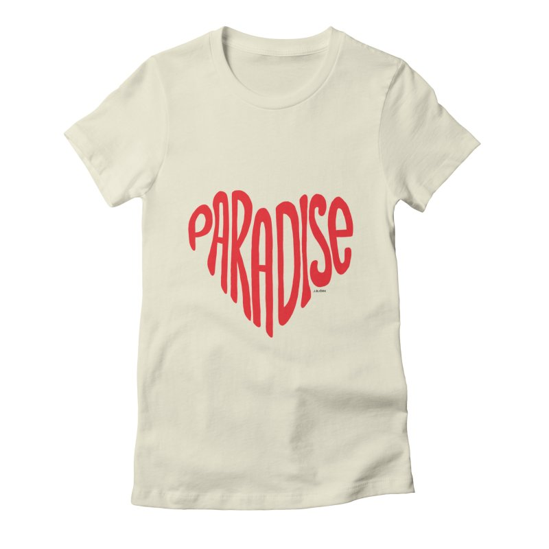 Paradise Love Women's Fitted T-Shirt by J.BJÖRK: minimalist printed artworks
