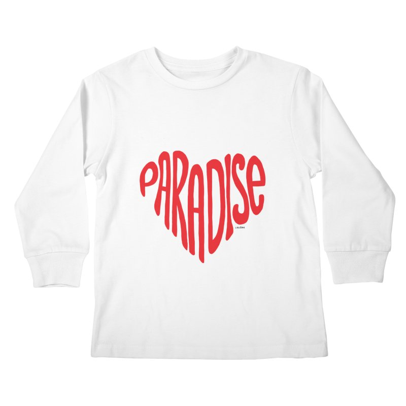 Paradise Love Kids Longsleeve T-Shirt by J.BJÖRK: minimalist printed artworks
