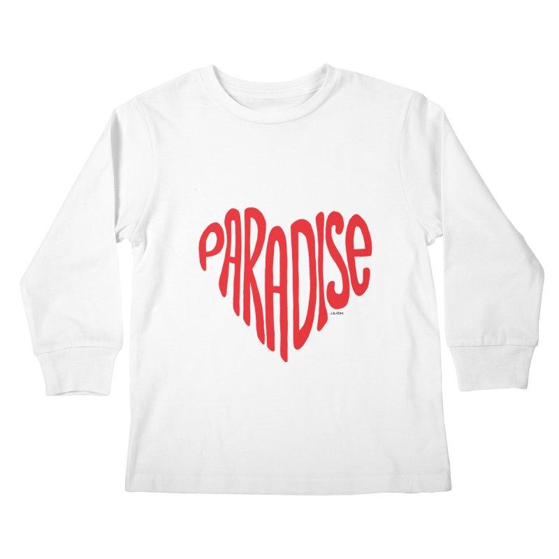 Paradise Love Kids Longsleeve T-Shirt by J.BJÖRK: minimalist printed artworks