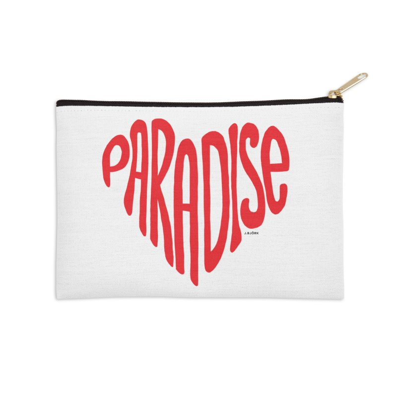 Paradise Love Accessories Zip Pouch by J.BJÖRK: minimalist printed artworks
