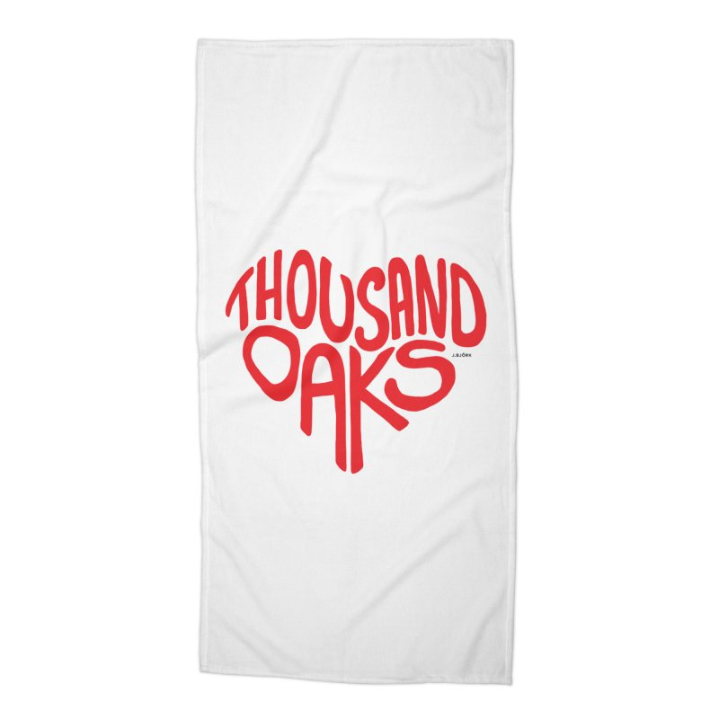1000 Oaks Love Accessories Beach Towel by J.BJÖRK: minimalist printed artworks