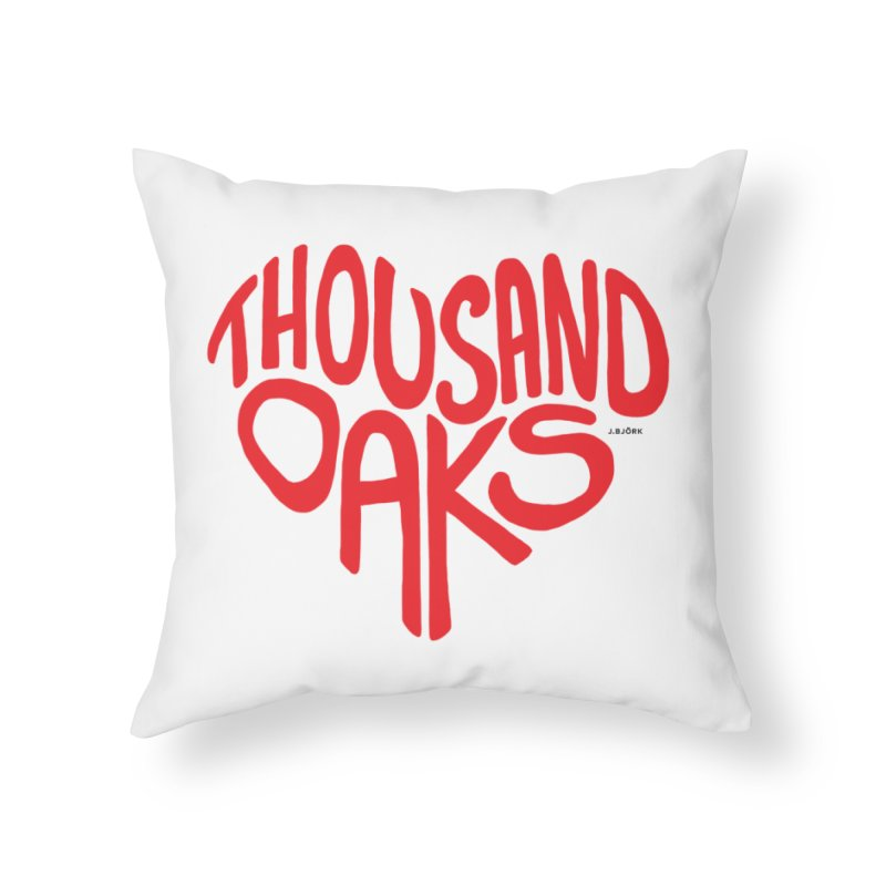 1000 Oaks Love Home Throw Pillow by J.BJÖRK: minimalist printed artworks