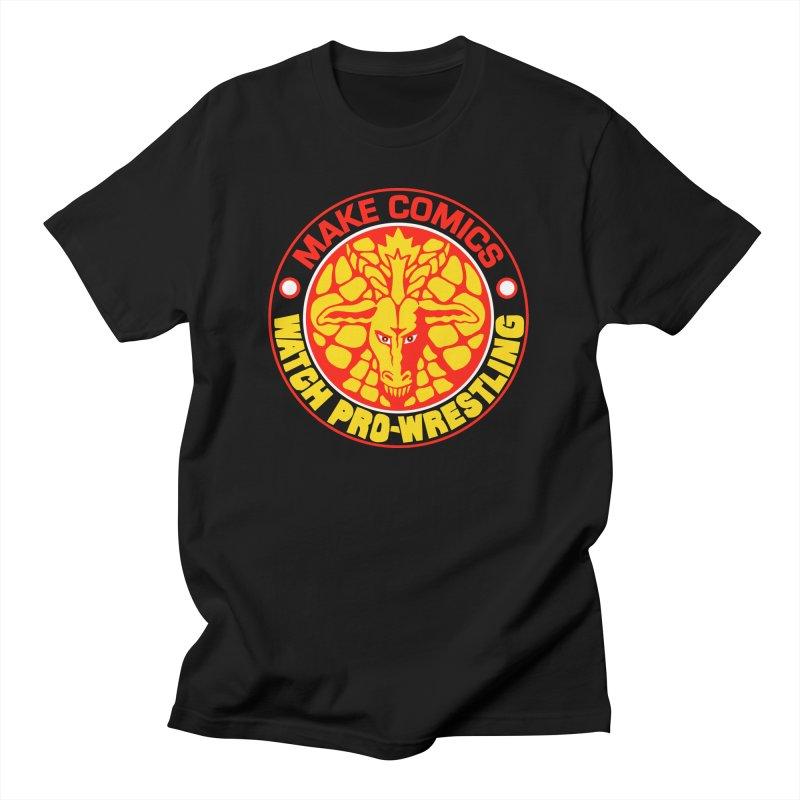Make Comics, Watch Pro Wrestling Men's T-Shirt by JB Roe Artist Shop