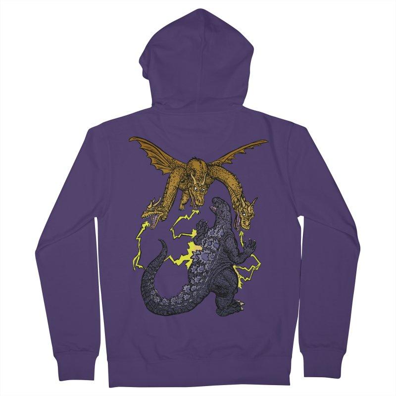 Kaiju Fight Women's French Terry Zip-Up Hoody by JB Roe Artist Shop