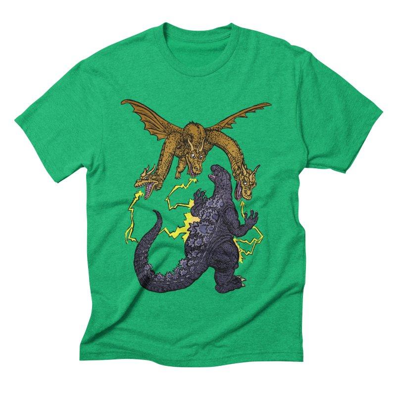 Kaiju Fight Men's Triblend T-Shirt by JB Roe Artist Shop