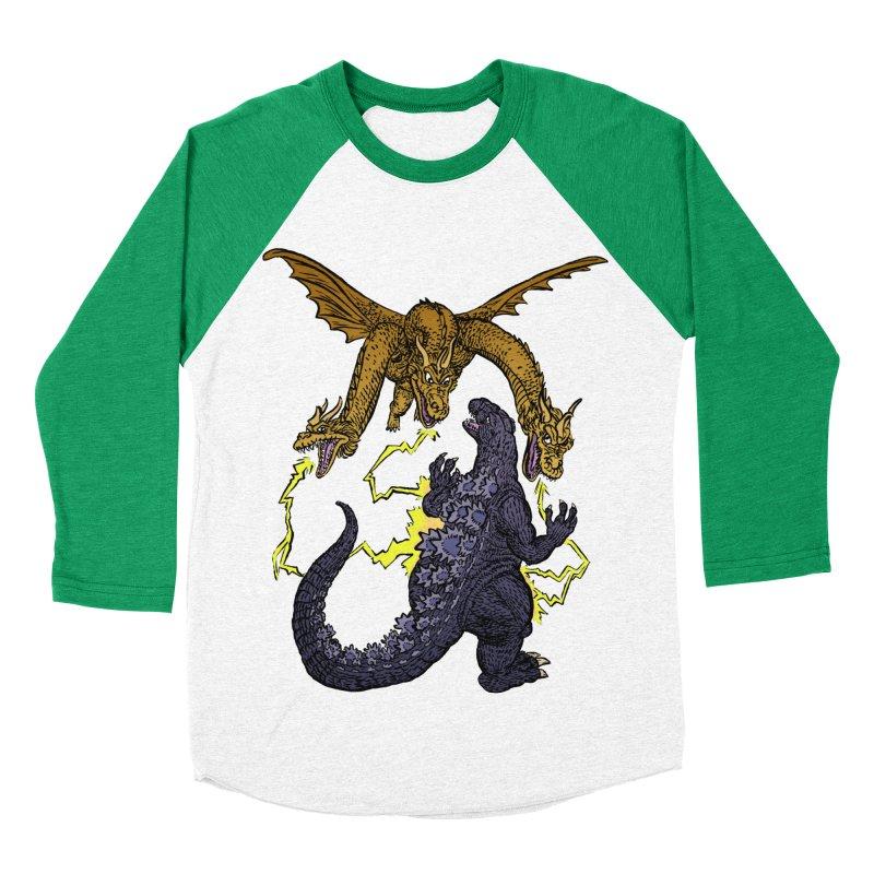 Kaiju Fight Women's Baseball Triblend Longsleeve T-Shirt by JB Roe Artist Shop