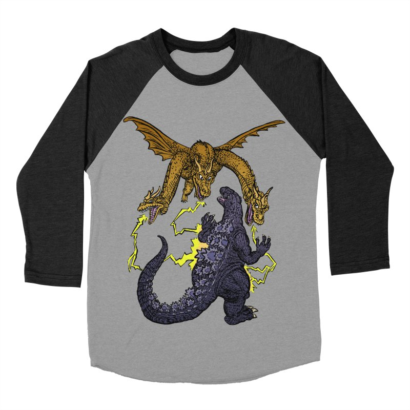 Kaiju Fight Men's Baseball Triblend Longsleeve T-Shirt by JB Roe Artist Shop