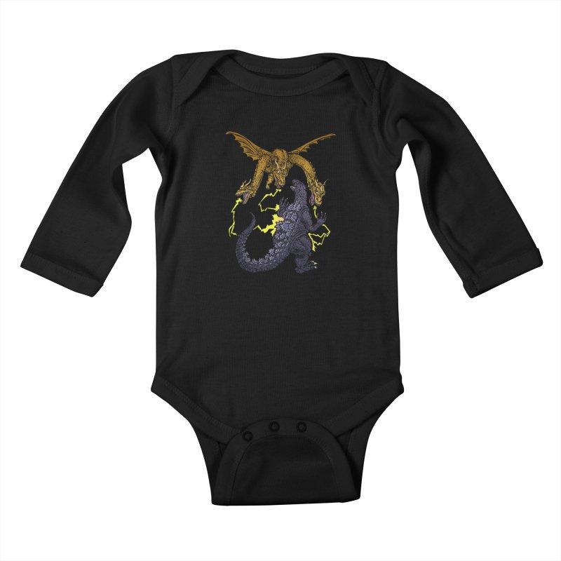 Kaiju Fight Kids Baby Longsleeve Bodysuit by JB Roe Artist Shop