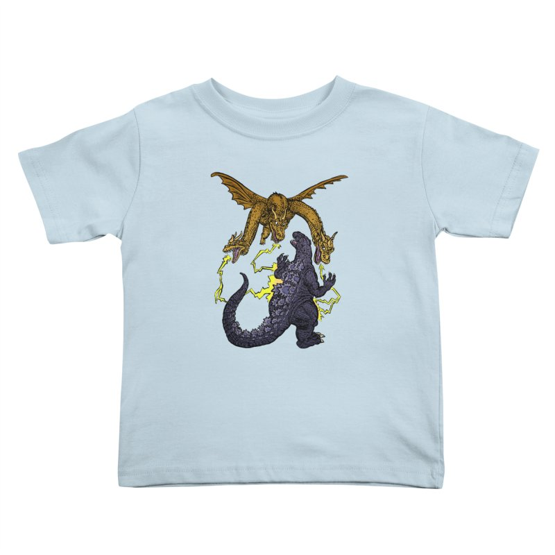 Kaiju Fight Kids Toddler T-Shirt by JB Roe Artist Shop