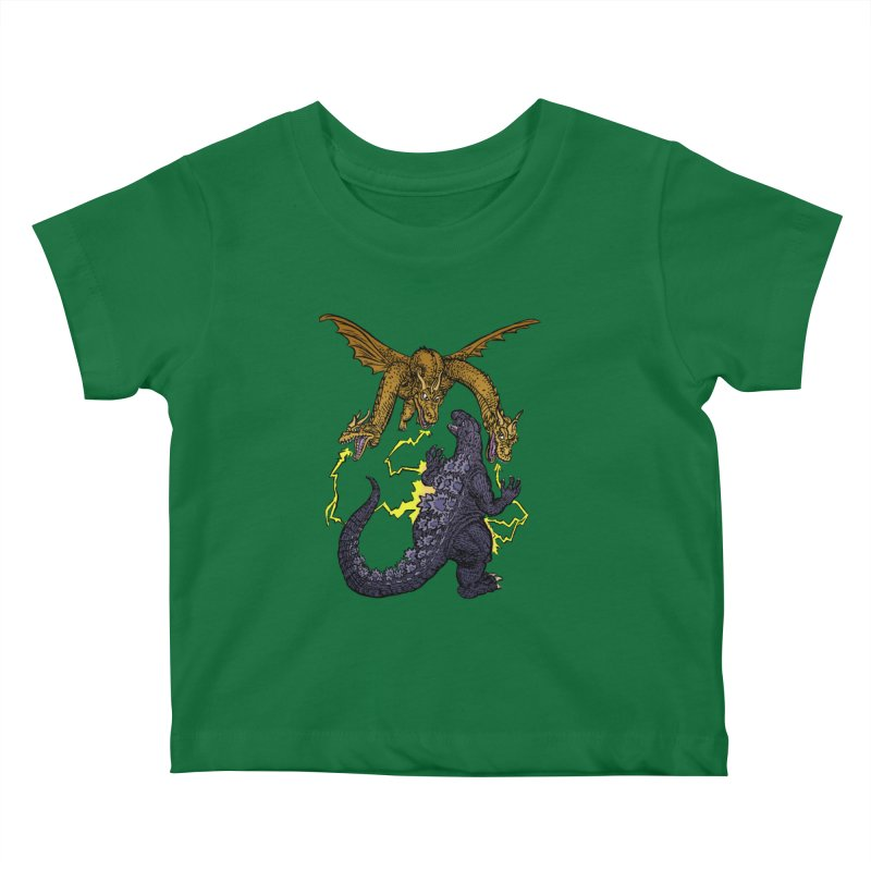 Kaiju Fight Kids Baby T-Shirt by JB Roe Artist Shop