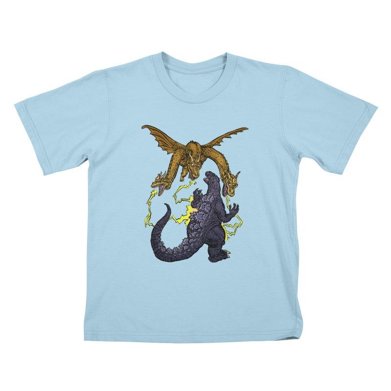 Kaiju Fight Kids T-Shirt by JB Roe Artist Shop
