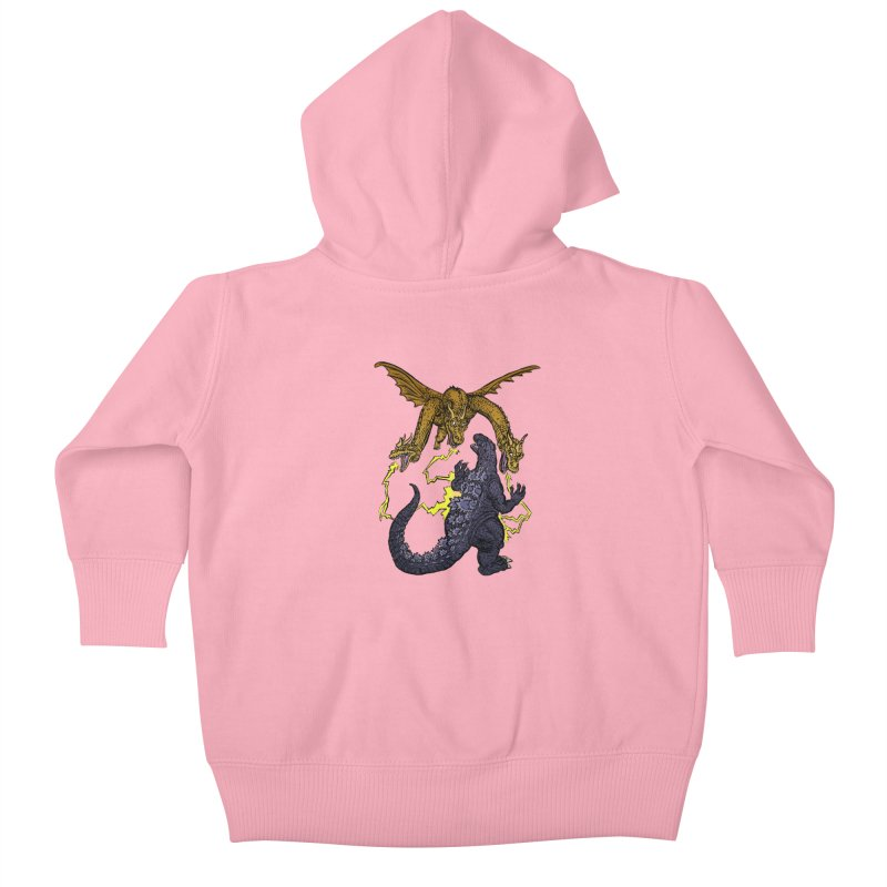Kaiju Fight Kids Baby Zip-Up Hoody by JB Roe Artist Shop
