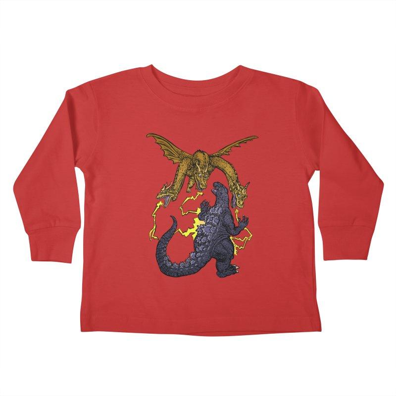 Kaiju Fight Kids Toddler Longsleeve T-Shirt by JB Roe Artist Shop